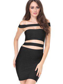 Cut Out Bodycon Bandage Dress - Black L
