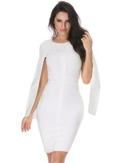 Slit Sleeve Plain Bandage Dress - White M