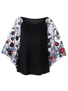 Embroidery Sheer Batwing Sleeve Blouse - Black Xl