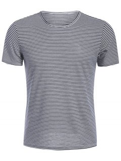 Mens Striped Crewneck Jersey Tee - White And Black Xl