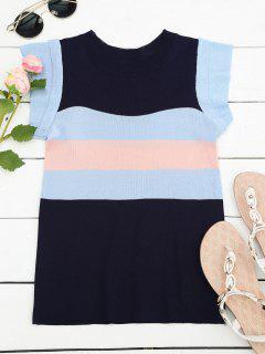 Knitted Color Block Layered Top - Purplish Blue