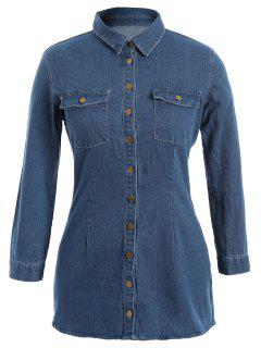 Button Down Jean Plus Size Shirt With Pockets - Denim Blue 3xl
