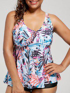 Plus Size Multi Color Printed Blouson Tankini Set - Floral Xl