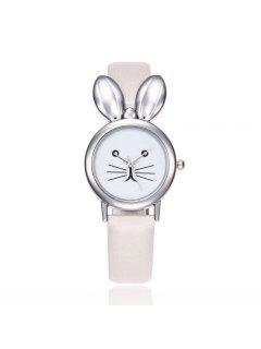 Faux Leather Strap Rabbit Ears Watch - White