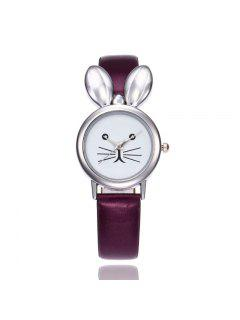 Faux Leather Strap Rabbit Ears Watch - Purple