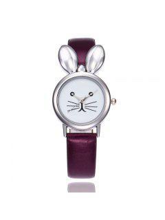 Faux Cuero Correa De Orejas De Conejo Reloj - Púrpura
