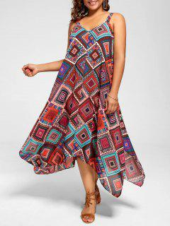 Plus Size Spaghetti Strap Geometric Print Handkerchief Dress - Multi 4xl