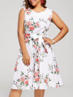 Floral Sleeveless Plus Size Tea Length Dress - White 2xl