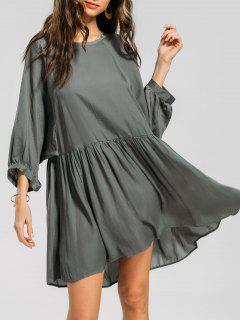 Lantern Sleeve Ruffled Seam Mini Dress - Dark Gray Green L