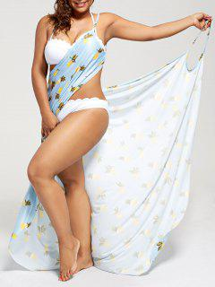 Plus Size Cover Up Wrap Dress - Light Blue 2xl