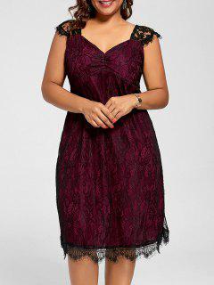 Lace A Line Plus Size Cocktail Dress - Wine Red 2xl