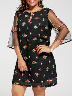 Mesh Trim Embroidered Plus Size Dress - Black 5xl