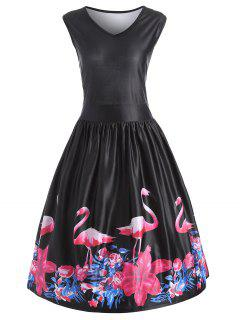 Flamingo Print Plus Size V Neck Veste Vintage Midi - Noir 5xl
