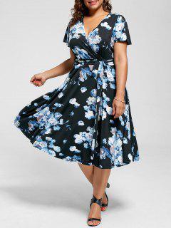 V Neck Floral Plus Size Robe Longue En Thé - Bleu 8xl