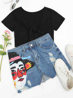 Ripped Figure Graphic Denim Skirt - Denim Blue L