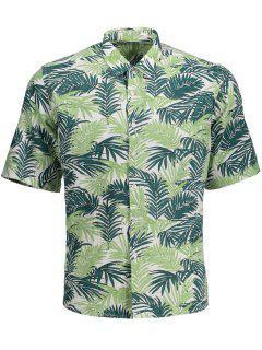 Half Sleeve Leaf Print Denim Shirt - Floral L