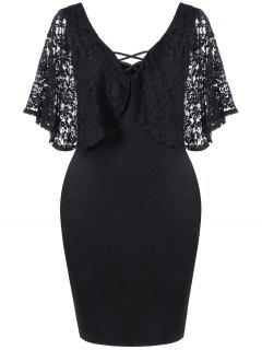 Plus Size Batwing Lace Sleeve Bodycon Dress - Black Xl