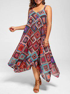 Plus Size Spaghetti Strap Geometric Print Handkerchief Dress - Multi 2xl