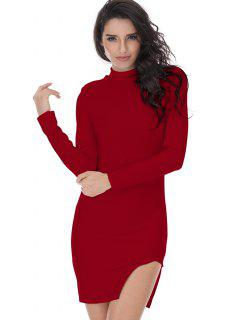 Slit Long Sleeve Bodycon Dress - Deep Red S