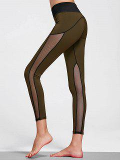 Mesh Insert Stretchy Yoga Leggings - Olive Green L