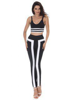 Pantalones Rayados Cami Cosecha Y Conjunto De Pantalones - Negro M