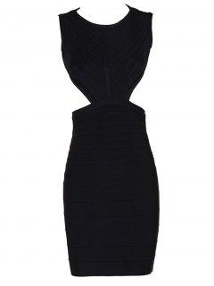 Halter Open Back Bodycon Bandage Dress - Black M