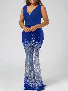 Plus Size Maxi Fishtail Dress - Blue 5xl