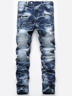 Zip Embellished Cuffed Biker Jeans - Denim Blue 34