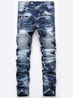 Zip Embellished Cuffed Biker Jeans - Denim Blue 36