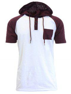 Hooded Drawstring Panel Design Raglan Sleeve T-shirt - White S