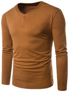 V Neck Rib Panel Long Sleeve Henley T-shirt - Earthy Xl