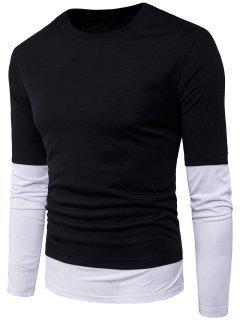 Camiseta De Manga Corta Con Cuello Redondo Striped Panel Faux Twinset - Negro Xl