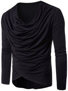 Cowl Neck Long Sleeve Pleated T-shirt - Black L