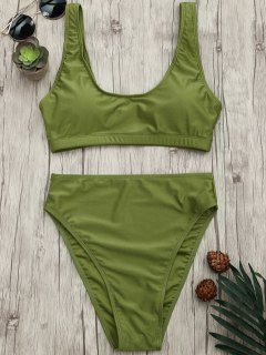 High Cut Scoop Bralette Bikini Set - Green S