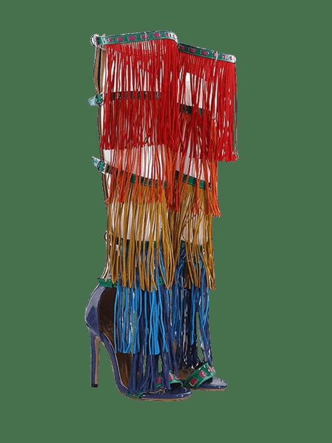 womens Belt Buckle Fringe Zipper Sandals - FLORAL 37 Mobile