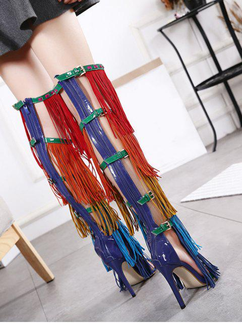 women Belt Buckle Fringe Zipper Sandals - FLORAL 38 Mobile