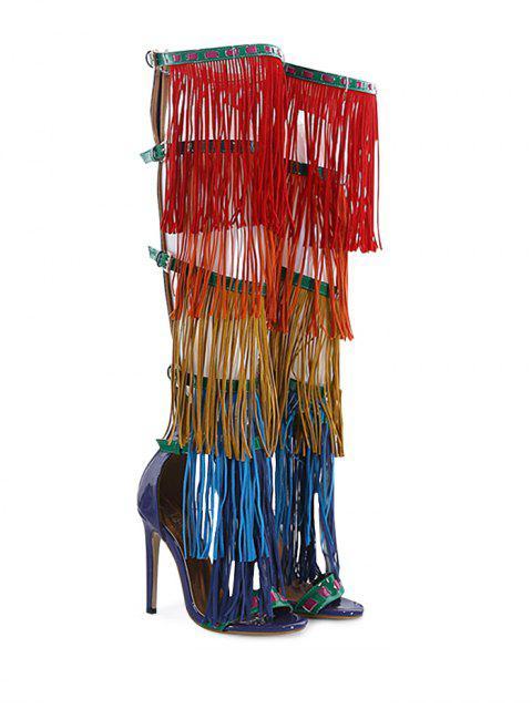 women Belt Buckle Fringe Zipper Sandals - FLORAL 38 Mobile