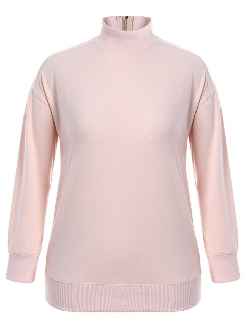 shops Zipper High Collar Plus Size Sweatshirt - PINK 4XL Mobile