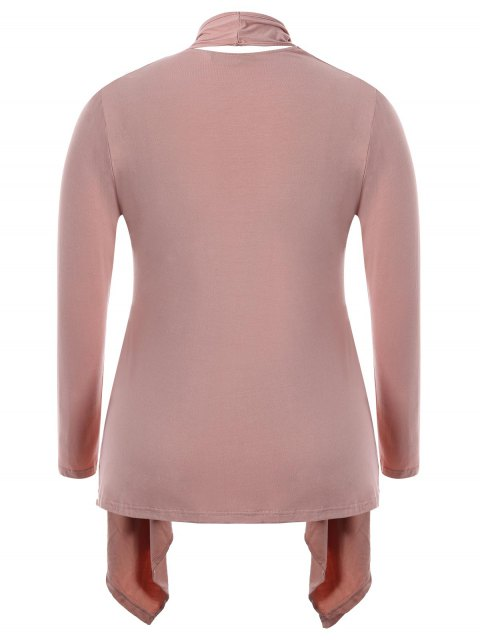 chic Cut Out Plus Size Shawl Collar Cardigan - PINK 4XL Mobile