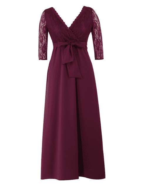 Lace Panel Belted Plus Size Robe de bal - Bordeaux 5XL Mobile