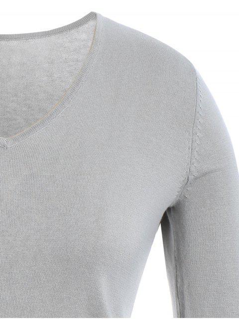 affordable High Low Plus Size Slit Knitwear Dress - GRAY XL Mobile