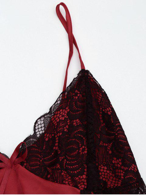 hot Lace Satin Camisole Shorts Pajama Set - BURGUNDY M Mobile