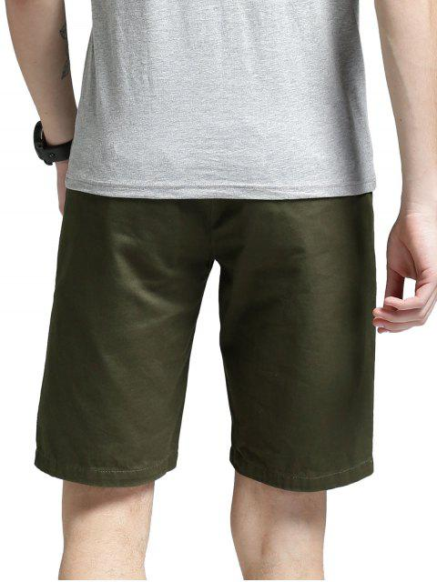 outfits Side Pockets Zip Fly Shorts - GREEN 38 Mobile