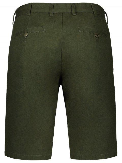 trendy Side Pockets Zip Fly Shorts - GREEN 34 Mobile