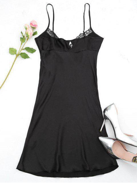fancy Eyelash Lace Trim Satin Slip Dress - BLACK M Mobile