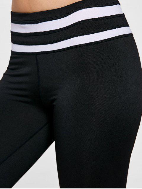 unique Color Block Striped Yoga Leggings - WHITE AND BLACK L Mobile