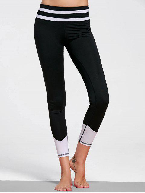 sale Color Block Striped Yoga Leggings - WHITE AND BLACK M Mobile
