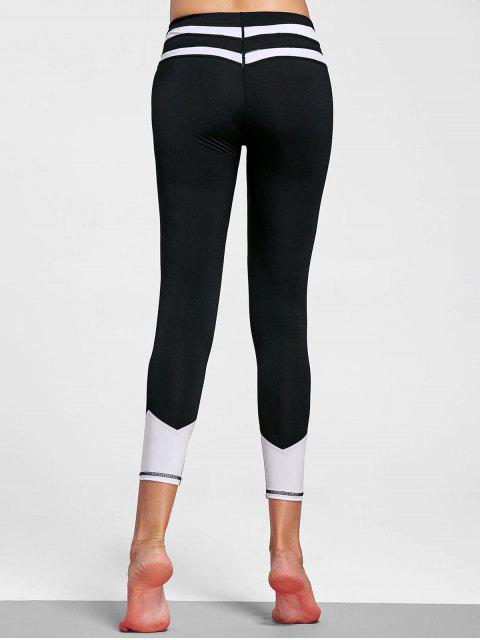 affordable Color Block Striped Yoga Leggings - WHITE AND BLACK S Mobile