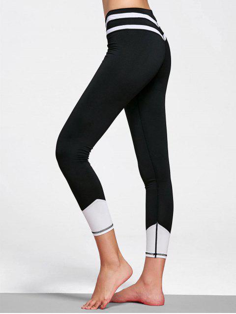 Leggings rayés en cuir - Blanc et Noir S Mobile