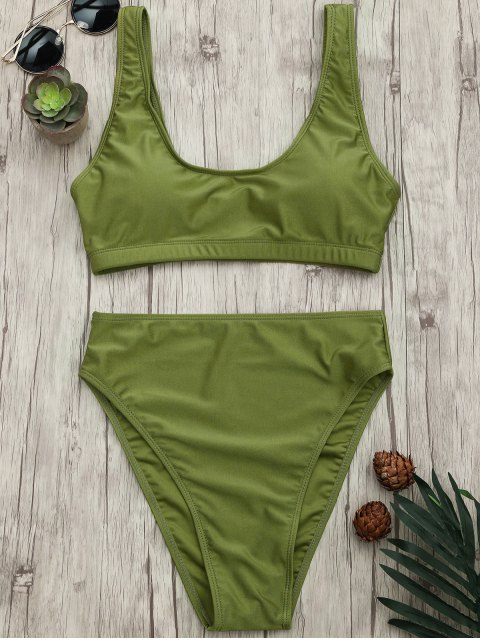 chic High Cut Scoop Bralette Bikini Set - GREEN L Mobile